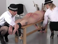 Police real massa spanks subs butt with different objects