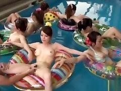 Young nippon in bikini getting kinky