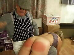 Shoplifter strip searched and spanked by old shop owner
