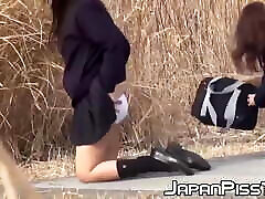 Japanese schoolgirls stopped to take a warm pissing outdoor