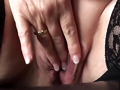 Mature submissive rubs her pussy