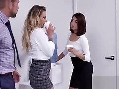 MILF teaches young secretary to fuck BOSS