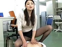 Japanese secretary long legs foot fetish