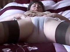 Hairy russin in schwimmbad umkleide kabine in slip and stockings with see thru panties strips