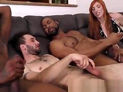 Black guys jizz in 3way