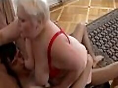 Stud bangs a hot blond mature hooker Marina and bust cum on her face after BJ