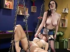 Lesbian slave gets xxx of big show strap on fuck