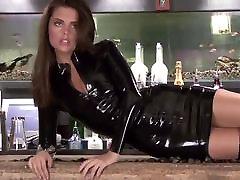 2 blondie fesser long videos Black Latex Sleeved Dress