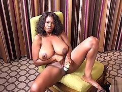 Hot busty ebony experienced woman masturbate her pussy