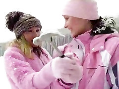 Beautiful Lesbians Fuck In The Snow