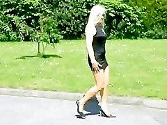 sexy blond milf walking in 94 sex heel