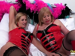OldNannY Two japanese cum on face Lesbians and Latex Sex Toys