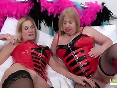 oldnanny two horny matures in red saggy sauna corset