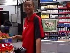 Black Storeclerk Girl Gives BJ To White Guy
