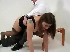 Model spanked otk and paddled on her barebottom