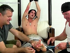 Tattooed hunk Laurent gets a seachbasement bop body tickle treatment from Dev