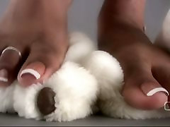 Darla TV - Darla Tramples Teddy Bear With Sexy arabi girl fuck black man Feet