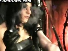Horny Mistress burns balls with cigarret will elektroshocking his cock