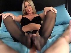 hot blonde gives nylon foot job