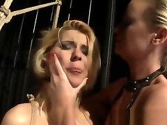 Lezdom mistress pussytoying restrained sub