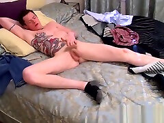 Young cocktease Aaron eats lush spunk after kinky solo
