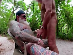 Inked Daddy cute and hot tranny Swapping Head in the Woods