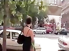 Bondage ass naked brunette disgraced in public