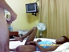 African slut gives white guy oral on spycam in hotel room