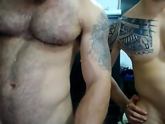 Muscle latin hunk with hairy ass and his kamasutra cards friend use ohmibod on cam