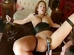 Bondage brunette babe gets orgasm with nipples male machine