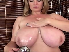 Sweet busty milf in the shower. Amazing roseann bassin natural tits.