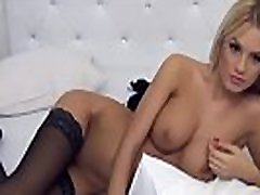 Sexy blonde in stockings waiting for private chat