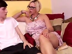 Sexy mature milf jerking off her stepsons big dick
