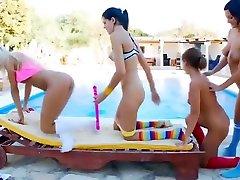 Lesbian sauna dina fitriani video featuring nude emily Orgy, Romea and Adria