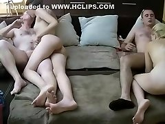 Two young russian couples engaged in depraved group sex