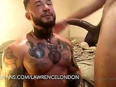 tattooed muscle man destroyed by giant latin cock.