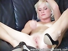 Blonde masturbation teacher is naked while demoing how to jerk of