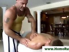 Straight macho seduced with massage