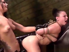 Lezdom punishes submissive rough and harsh