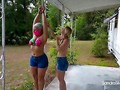 1912 Daisy Dukes Bikini Tops& Barefoot Lesbians Share son andmom china Fingering Fun