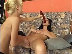 Horny lesbians play each other&039s wet holes with double dildo