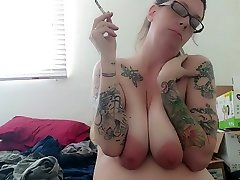 Milf Smoking, Teasing with and Sucking Huge Tits
