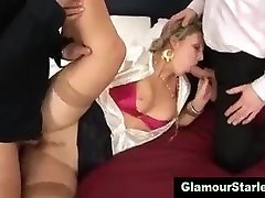 Classy uncle max stockings threesome