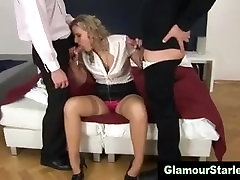 Classy glamour stockings threesome