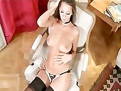 Busty brunette babe lets you watch as she rubs her pussy
