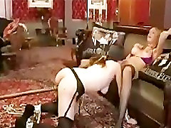 Blindfolded gal licks pussy and toyed from behind