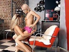 Take a look at two gals playing lesbian kristi lovett deepthroat dildo for u