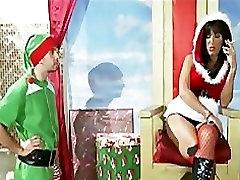 Hot big-tit brunette MILF just wants an elfâ??s big dick for Xmas