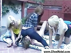 Femdom black guy and white guy girls in the garden