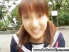 Real amateur japanese babe gets bukkake in reality gangbang